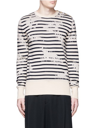 Main View - Click To Enlarge - ALEXANDER MCQUEEN - Mending jacquard stripe sweater