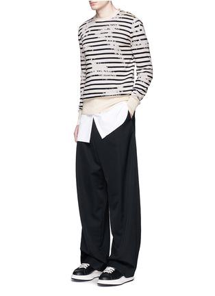 Figure View - Click To Enlarge - ALEXANDER MCQUEEN - Mending jacquard stripe sweater