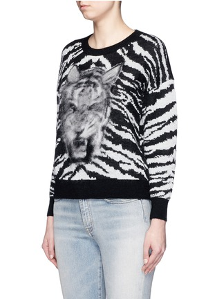 Front View - Click To Enlarge - SAINT LAURENT - Brushed tiger head jacquard sweater