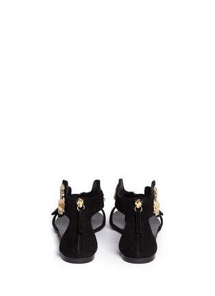 Back View - Click To Enlarge - Giuseppe Zanotti Design - 'Rock' leaf filigree suede sandals