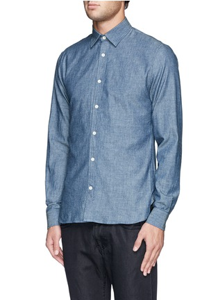 Front View - Click To Enlarge - HARDY AMIES - Cotton chambray shirt