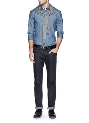 Figure View - Click To Enlarge - HARDY AMIES - Cotton chambray shirt