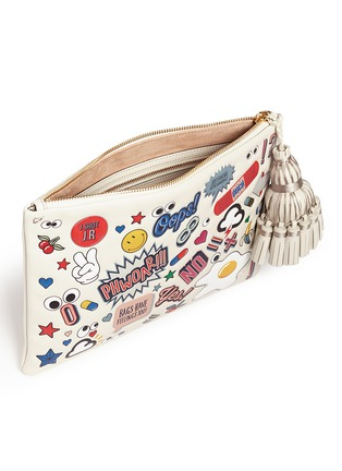 Detail View - Click To Enlarge - Anya Hindmarch - 'Stickered-up Georgiana' leather clutch