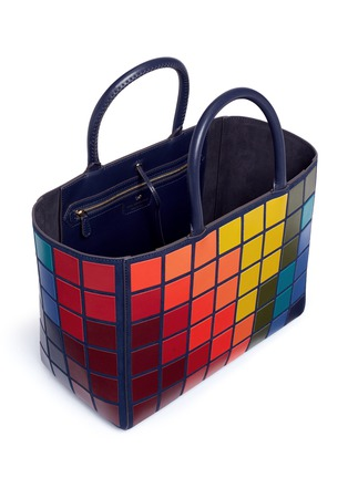 Detail View - Click To Enlarge - Anya Hindmarch - 'Ebury Small Giant Pixel' patchwork suede tote
