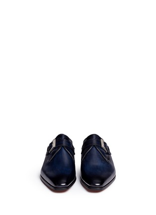 Front View - Click To Enlarge - Magnanni - Brushstroke finish leather monk strap shoes