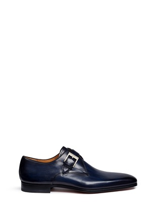 Main View - Click To Enlarge - Magnanni - Brushstroke finish leather monk strap shoes