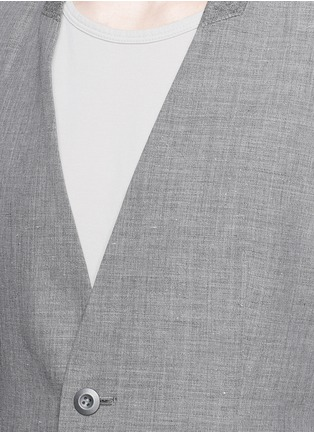 Detail View - Click To Enlarge - ATTACHMENT - Collarless wool-linen blazer