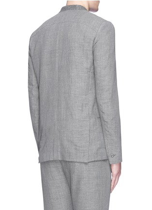 Back View - Click To Enlarge - ATTACHMENT - Collarless wool-linen blazer