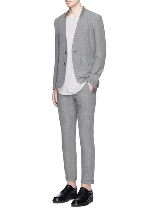 Figure View - Click To Enlarge - ATTACHMENT - Collarless wool-linen blazer