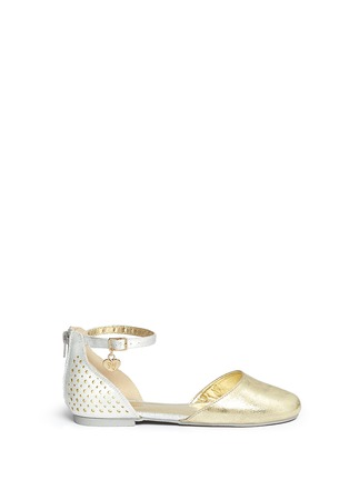 Main View - Click To Enlarge - STUART WEITZMAN - 'Audrina Sparkle' logo charm metallic d'Orsay kids flats