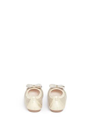 Back View - Click To Enlarge - Stuart Weitzman - 'Fannie Jewel' strass bow kids ballerinas