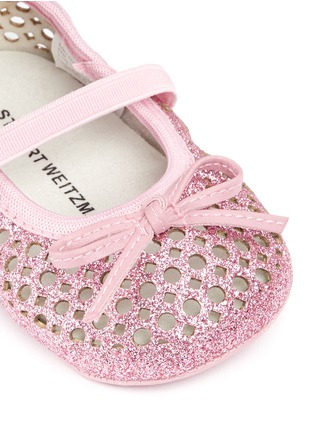 Detail View - Click To Enlarge - Stuart Weitzman - Bow perforated glitter infant ballerinas