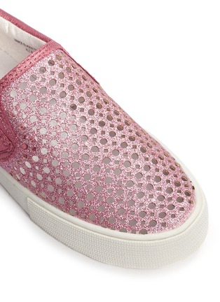 Detail View - Click To Enlarge - STUART WEITZMAN - 'Vance Slider Toddler' perforated glitter slip-ons