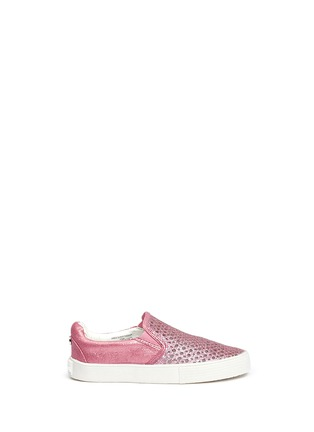 Main View - Click To Enlarge - STUART WEITZMAN - 'Vance Slider Toddler' perforated glitter slip-ons