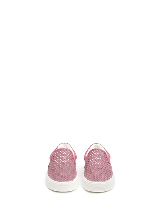 Figure View - Click To Enlarge - STUART WEITZMAN - 'Vance Slider Toddler' perforated glitter slip-ons