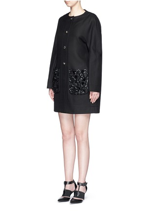 Front View - Click To Enlarge - Balenciaga - Floral sequin embellished twill cocoon jacket