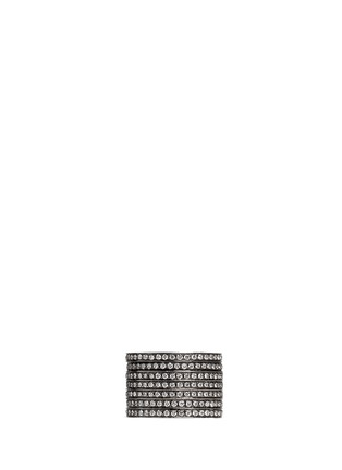Back View - Click To Enlarge - Dauphin - Diamond black rhodium plated 18k white gold seven tier ring