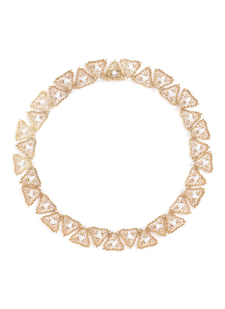 Diamond 18k gold openwork necklace - BUCCELLATI - Modalova