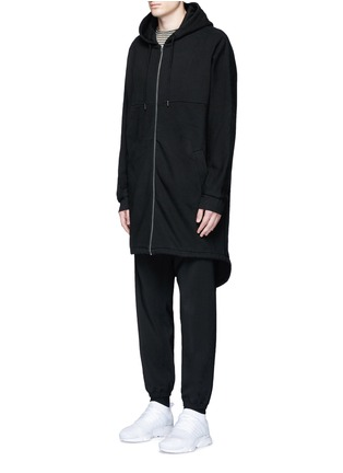 Front View - Click To Enlarge - T By Alexander Wang - Dip hem hooded jersey parka