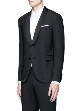 Front View - Click To Enlarge - NEIL BARRETT - Satin shawl lapel tuxedo blazer