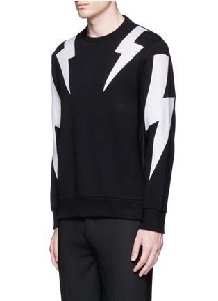 Front View - Click To Enlarge - Neil Barrett - 'Thunderbolt' print zip side sweatshirt
