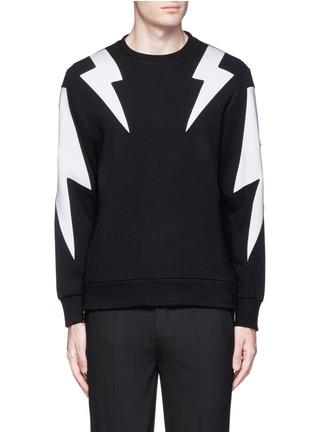 Main View - Click To Enlarge - Neil Barrett - 'Thunderbolt' print zip side sweatshirt