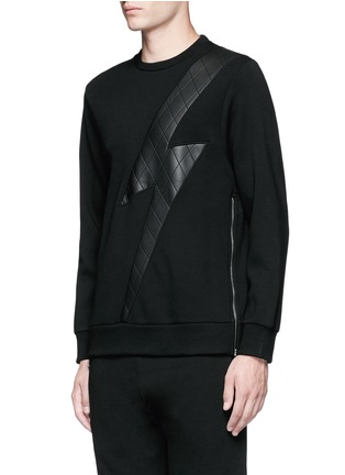 Front View - Click To Enlarge - Neil Barrett - Leather thunderbolt side zip sweatshirt