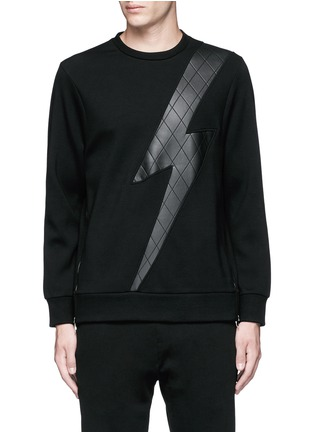 Main View - Click To Enlarge - Neil Barrett - Leather thunderbolt side zip sweatshirt