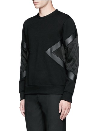 Front View - Click To Enlarge - Neil Barrett - Quilted satin and leather panelled sweatshirt