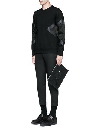 Figure View - Click To Enlarge - Neil Barrett - Quilted satin and leather panelled sweatshirt