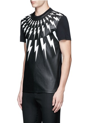 Front View - Click To Enlarge - Neil Barrett - Thunderbolt print faux leather front T-shirt