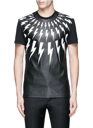 Main View - Click To Enlarge - Neil Barrett - Thunderbolt print faux leather front T-shirt