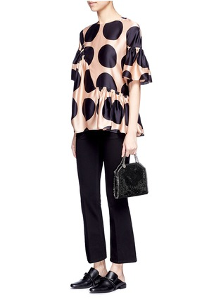 Figure View - Click To Enlarge - Stella McCartney - 'Falabella' tiny crystal pavé crossbody chain tote