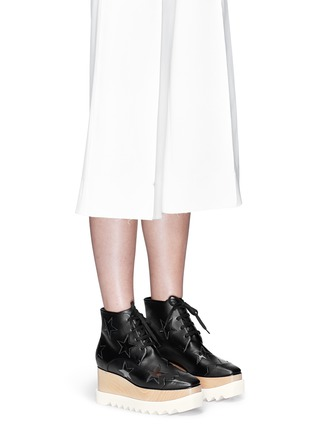 Figure View - Click To Enlarge - Stella McCartney - 'Elyse' star alter nappa wood platform boots