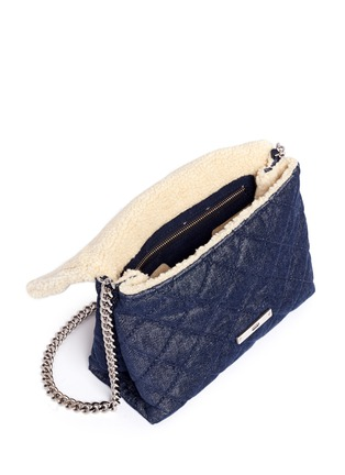 Detail View - Click To Enlarge - Stella McCartney - 'Becks' medium faux shearling quilted denim shoulder bag