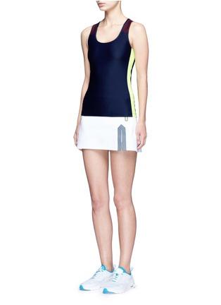 Figure View - Click To Enlarge - LAAIN - Neon trim tech jersey tennis skirt