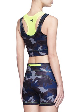 Back View - Click To Enlarge - Laain - Camouflage print neon double layer cropped top