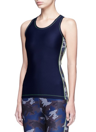 Front View - Click To Enlarge - Laain - Camouflage colourblock tank top