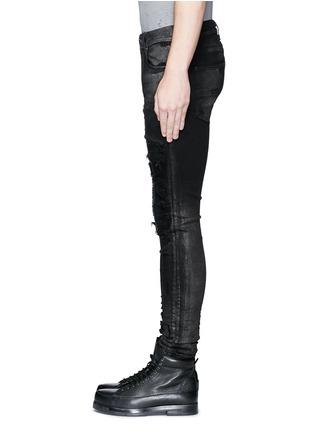 Detail View - Click To Enlarge - Amiri - Shimmer finish slim fit biker jeans