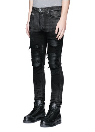 Front View - Click To Enlarge - Amiri - Shimmer finish slim fit biker jeans