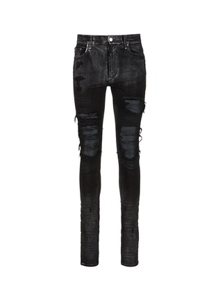 Main View - Click To Enlarge - Amiri - Shimmer finish slim fit biker jeans