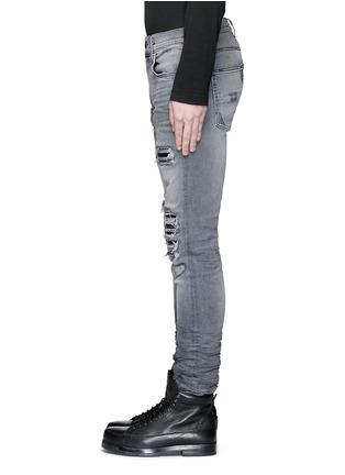 Detail View - Click To Enlarge - AMIRI - Pleat leather repair slim fit jeans