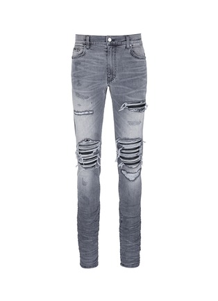 Main View - Click To Enlarge - Amiri - Pleat leather repair slim fit jeans