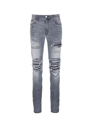 Main View - Click To Enlarge - AMIRI - Pleat leather repair slim fit jeans