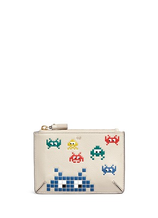 Main View - Click To Enlarge - ANYA HINDMARCH - 'Space Invasion Loose Pocket' small leather zip pouch