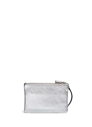 Back View - Click To Enlarge - Anya Hindmarch - 'Wink' smiley perforated metallic leather zip pouch