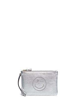 Main View - Click To Enlarge - Anya Hindmarch - 'Wink' smiley perforated metallic leather zip pouch