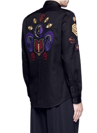 Back View - Click To Enlarge - Dries Van Noten - 'Chale' military badge shirt