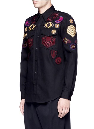 Front View - Click To Enlarge - Dries Van Noten - 'Chale' military badge shirt
