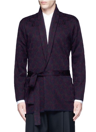 Main View - Click To Enlarge - Dries Van Noten - 'Milton' peacock jacquard robe cardigan